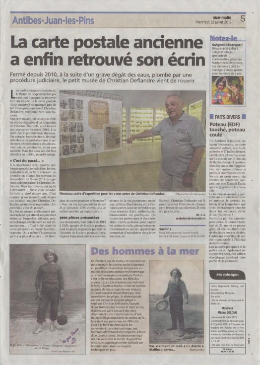 Article de Nice Matin du 22 Juillet 2015 sur le musée de la Carte Postale, à Antibes.