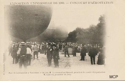 Carte postale à valeur documentaire, représentant le concours d'aérostation à Vincennes, lors de l'Exposition Universelle 1900.