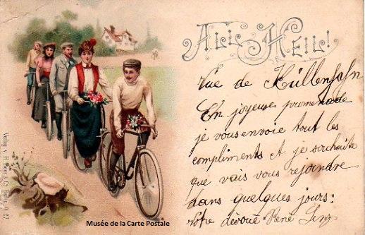 Carte postale ancienne représentant des promeneurs en bicyclettes.