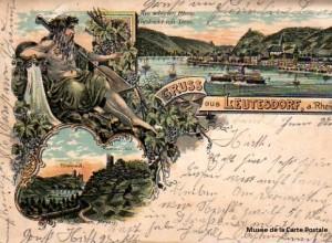 Carte postale Allemande, représentant le Rhin personnifié, proche des origines de la première carte postale illustrée.