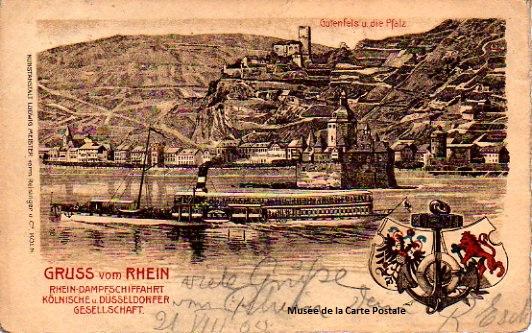 Carte postale Allemande, représentant un bateau pour une promenade sur le Rhin, proche des origines de la première carte postale illustrée.