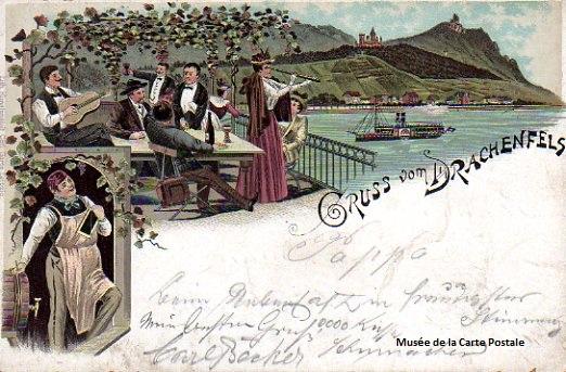 Carte postale ancienne représentant des promeneurs à la buvette, sur le bord du Rhin.