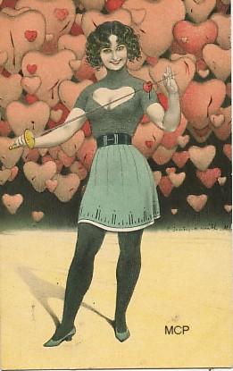 Carte postale représentant des coeurs, pour illustrer la valeur sentimentale des cartes postales.