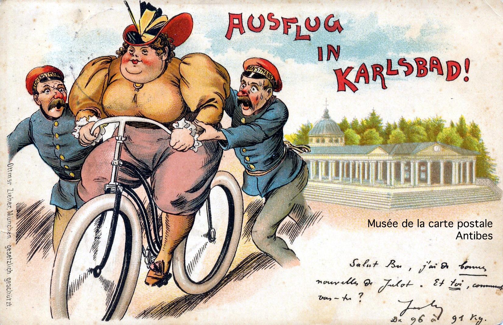 Carte postale, dessin humoristique, dame à vélo.