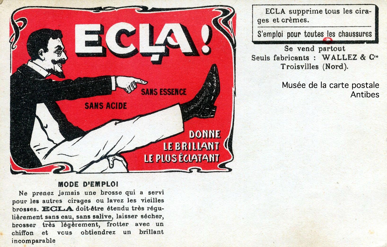 Carte postale ancienne, publicité cirage ECLA, issue de l'exposition temporaire du musée de la carte postale sur le thème de la chaussure.