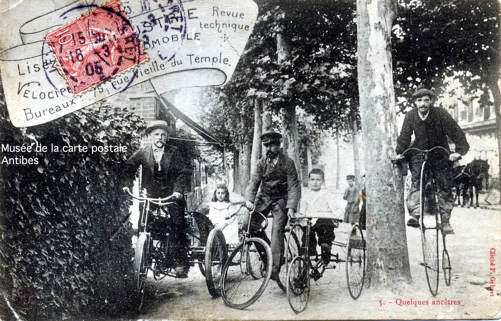 Carte postale ancienne représentant différents types de vélo.