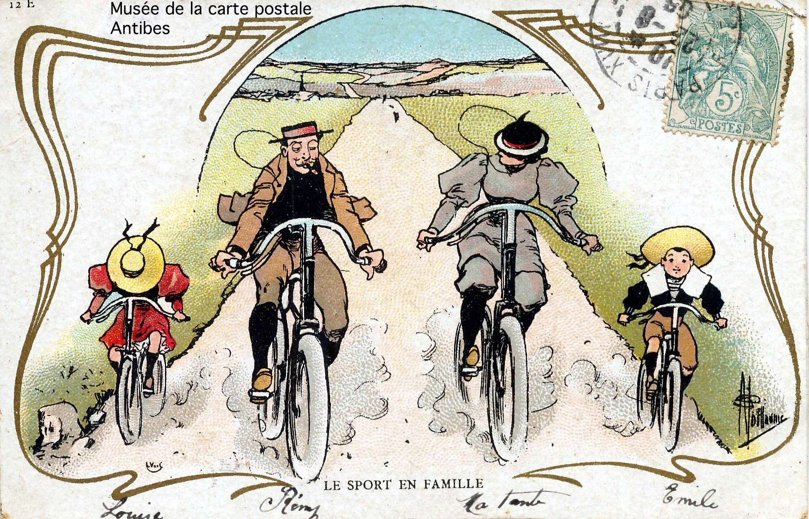 Carte postale ancienne illustrant le vélo en famille.