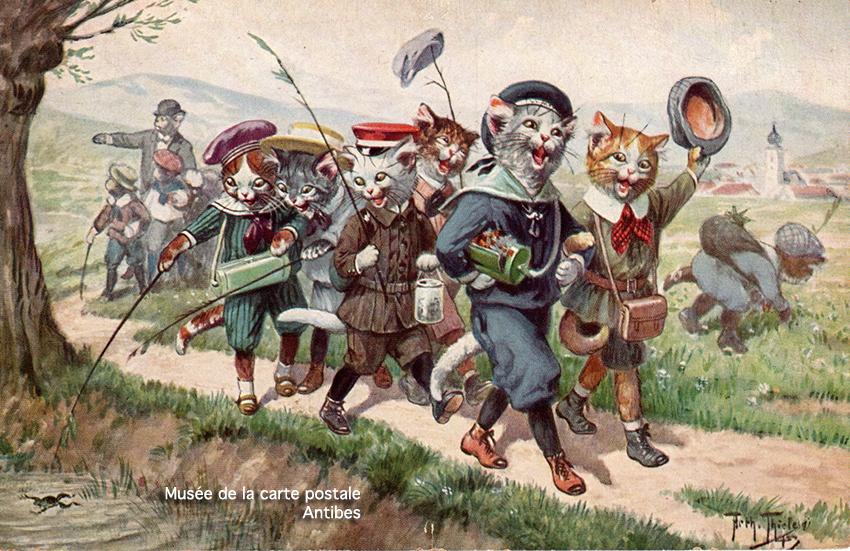 Carte postale ancienne représentant une troupe de chats habillés comme des enfants, issue de l'exposition temporaire sur les animaux humanisés, au Musée de la Carte Postale, à Antibes.