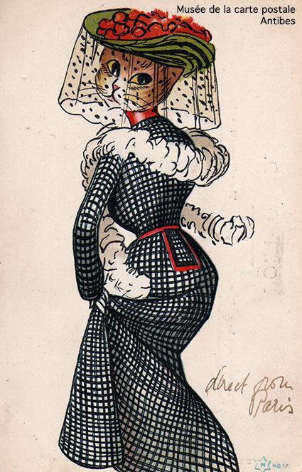 Carte postale ancienne représentant une chatte habillée en femme, issue de l'exposition temporaire sur les animaux humanisés, au Musée de la Carte Postale, à Antibes.