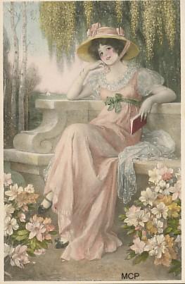Carte postale représentant une femme assise, pour illustrer la valeur artistique des cartes postales.