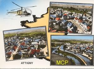 Carte postale photomontage de 3 vues aériennes d'Attigny.