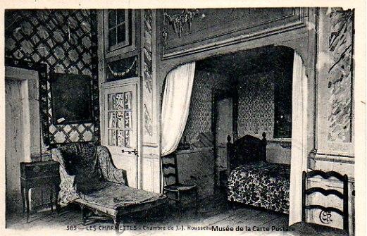 Carte postale ancienne représentant la chambre de Rousseau dans la maison des Charmettes.