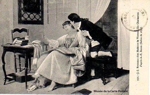 Carte postale ancienne représentant Jean Jacques Rousseau et madame de Warens, aux Charmettes.