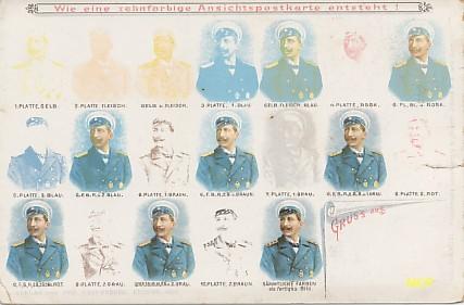 Carte postale publicitaire d'éditeur, expliquant la technique de la chromolithographie, exposée au musée de la carte postale à Antibes.