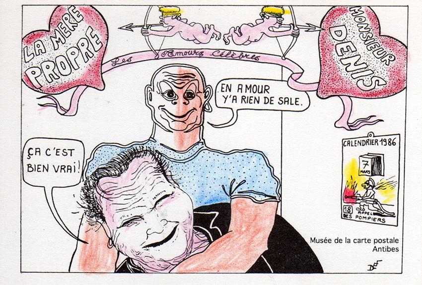 Carte postale humoristique illustrée représentant l'amour entre la mère Denis et monsieur propre, issue de l'exposition temporaire du musée de la Carte Postale.