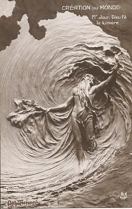 Carte postale ancienne représentant Dieu à la création du monde, bien avant celle du musée de la carte postale.