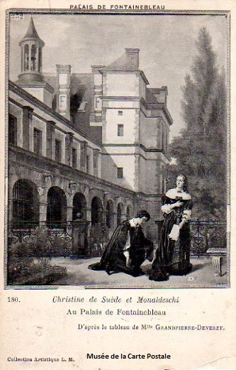 Carte postale de Christine de Suède et Monaldeschi.