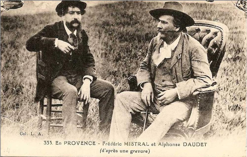 Carte postale représentant Frédéric Mistral en compagnie d'Alphonse Daudet.