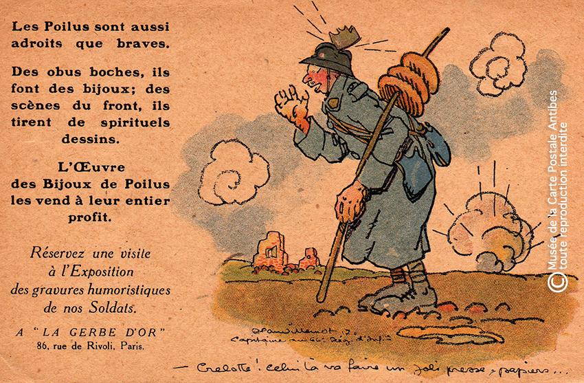 """Carte postale gravure illustrant des bijoux créés par les Poilus, issue de l'exposition temporaire """"l'humour chez les poilus"""" au Musée de la Carte Postale, à Antibes."""