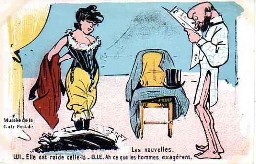 Carte postale ancienne à l'humour grivois pour illustrer les échos de l'Âge d'Or.