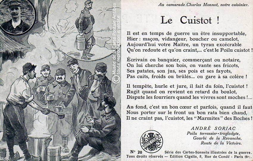"""Carte postale humoristique illustrant le cuistot chez les Poilus, issue de l'exposition temporaire """"l'humour chez les poilus"""" au Musée de la Carte Postale, à Antibes."""