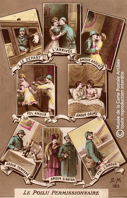 """Carte postale représentant la permission d'un Poilu, issue de l'exposition temporaire """"l'humour chez les poilus"""" au Musée de la Carte Postale, à Antibes."""