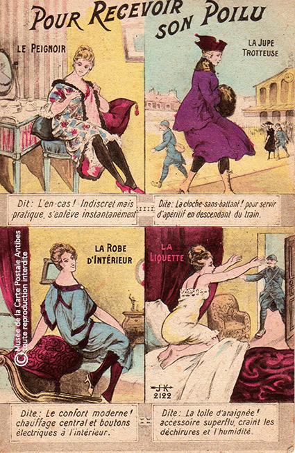 """Carte postale illustrée représentant la permission d'un Poilu, issue de l'exposition temporaire """"l'humour chez les poilus"""" au Musée de la Carte Postale, à Antibes."""