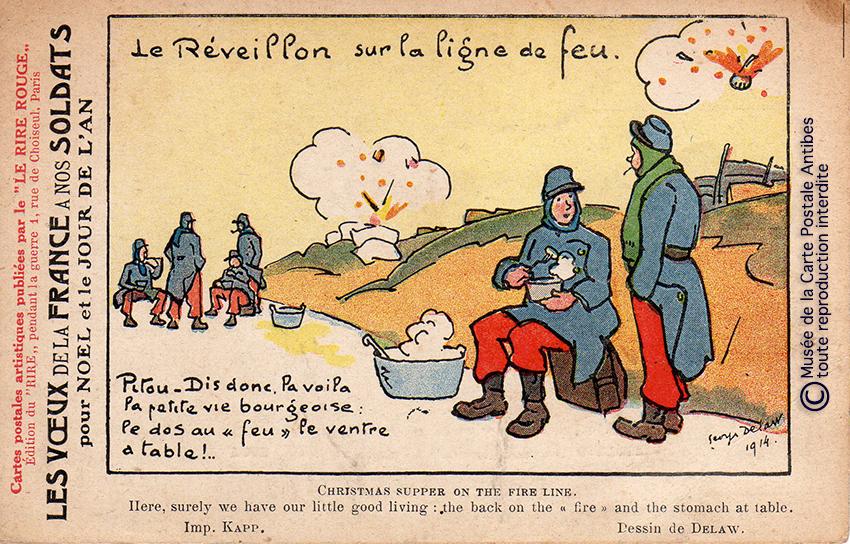 """Carte postale illustrée représentant les voeux et le réveillon des soldats Poilus, issue de l'exposition temporaire """"l'humour chez les poilus"""" au Musée de la Carte Postale, à Antibes."""