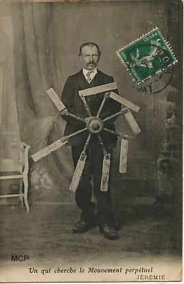 Carte postale à valeur documentaire, représentant un inventeur.