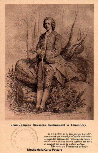 Carte postale ancienne représentant Jean Jacques Rousseau.