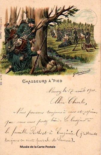 Carte postale militaire ancienne représentant les chasseurs à pied.
