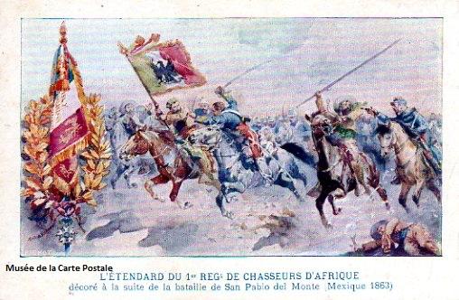 Carte postale ancienne représentant une bataille militaire.
