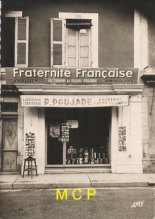 Carte postale représentant la boutique de l'éditeur Pierre Poujade.