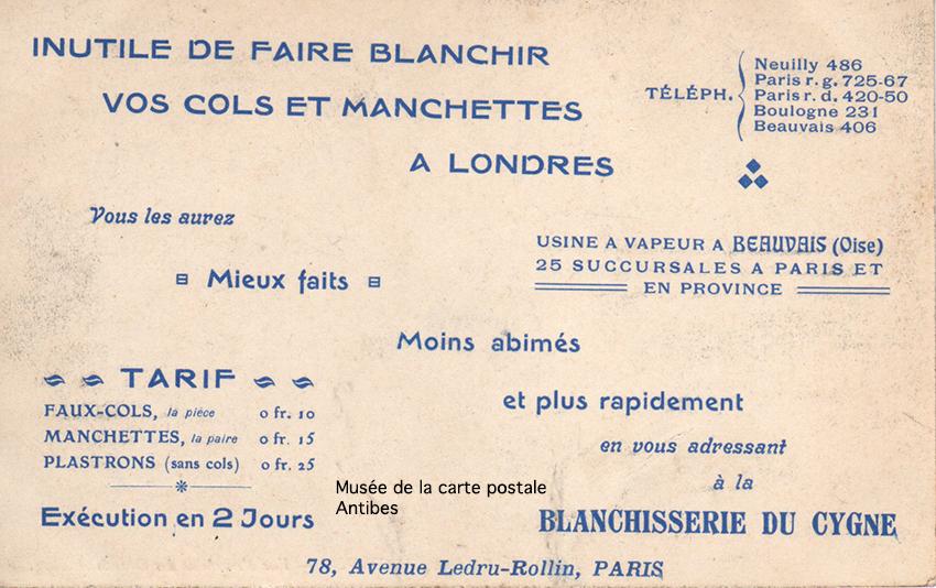 Carte postale publicitaire de la blanchisserie du cygne à Paris, issue de l'exposition temporaire du musée de la Carte Postale.