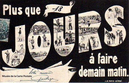 Carte postale ancienne représentant la quille, nombre de jours restant à effectuer pour le service militaire.