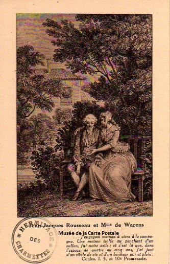 Carte postale ancienne représentant Jean Jacques Rousseau et madame de Warens.