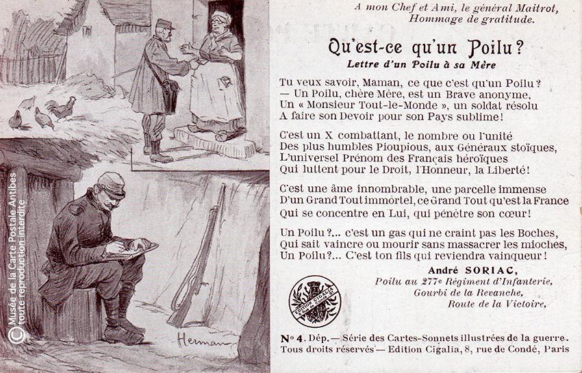 """Carte postale humoristique illustrée d'un sonnet au sujet des Poilus, issue de l'exposition temporaire """"l'humour chez les poilus"""" au Musée de la Carte Postale, à Antibes."""