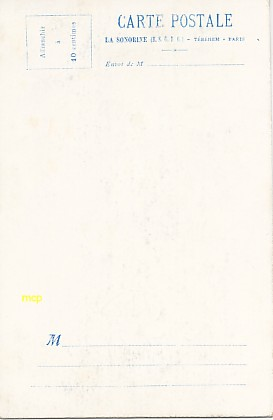 "Verso d'une carte postale ""sonorine"" année 1905, exposée au musée de la carte postale, à Antibes."