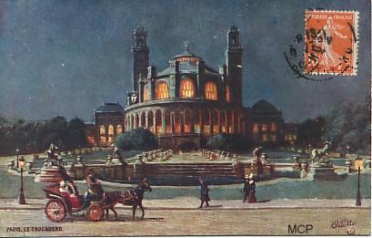 Carte postale du Palais du Trocadéro à Paris.