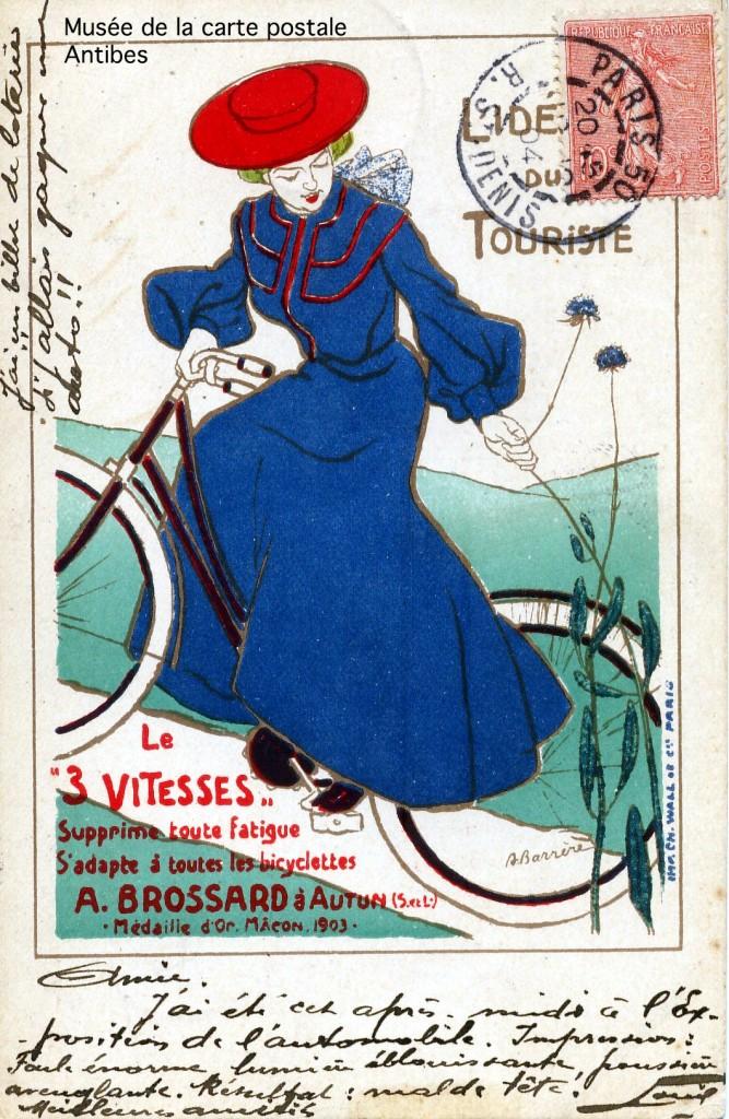 Carte postale publicitaire représentant une femme sur un vélo 3 vitesses Brossard.
