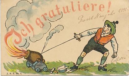 Symbole du temps qui passe, carte postale voeux de bonne année 1891, exposée au musée de la carte postale, à Antibes.