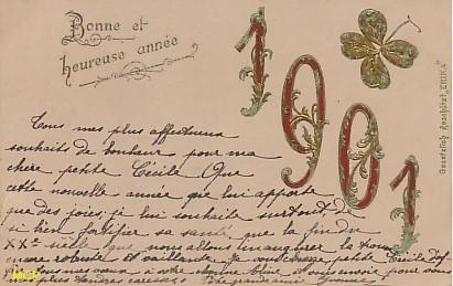 Symbole du temps qui passe, carte postale voeux de bonne année 1901, exposée au musée de la carte postale, à Antibes.