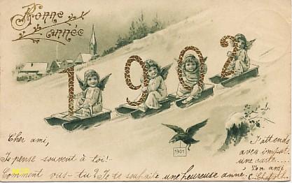 Symbole du temps qui passe, carte postale voeux de bonne année 1902, exposée au musée de la carte postale, à Antibes.