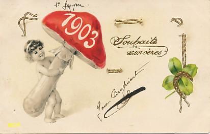 Symbole du temps qui passe, carte postale voeux de bonne année 1903, exposée au musée de la carte postale, à Antibes.