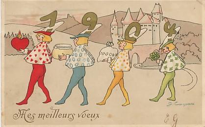 Symbole du temps qui passe, carte postale voeux de bonne année 1904, exposée au musée de la carte postale, à Antibes.