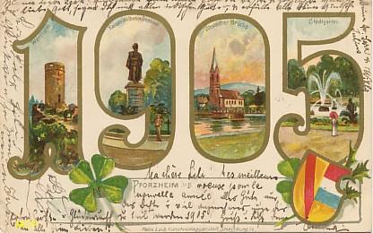 Symbole du temps qui passe, carte postale voeux de bonne année 1905, exposée au musée de la carte postale, à Antibes.
