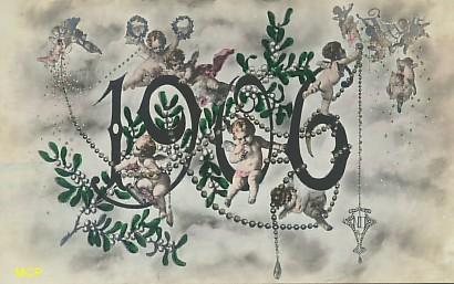 Symbole du temps qui passe, carte postale voeux de bonne année 1906, exposée au musée de la carte postale, à Antibes.