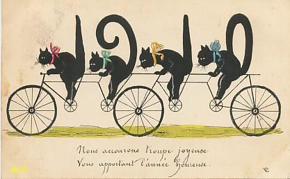 Symbole du temps qui passe, carte postale voeux de bonne année 1910, exposée au musée de la carte postale, à Antibes.