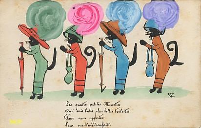 Symbole du temps qui passe, carte postale voeux de bonne année 1912, exposée au musée de la carte postale, à Antibes.