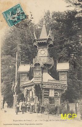 Carte postale montrant l'exposition au chalet de la carte postale à Nancy, en 1909. Cette carte est exposée dans le musée de la carte postale à Antibes.